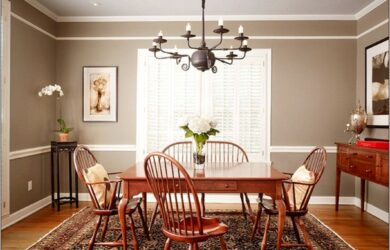 Stdained Chair Rail In Dining Room Ideas