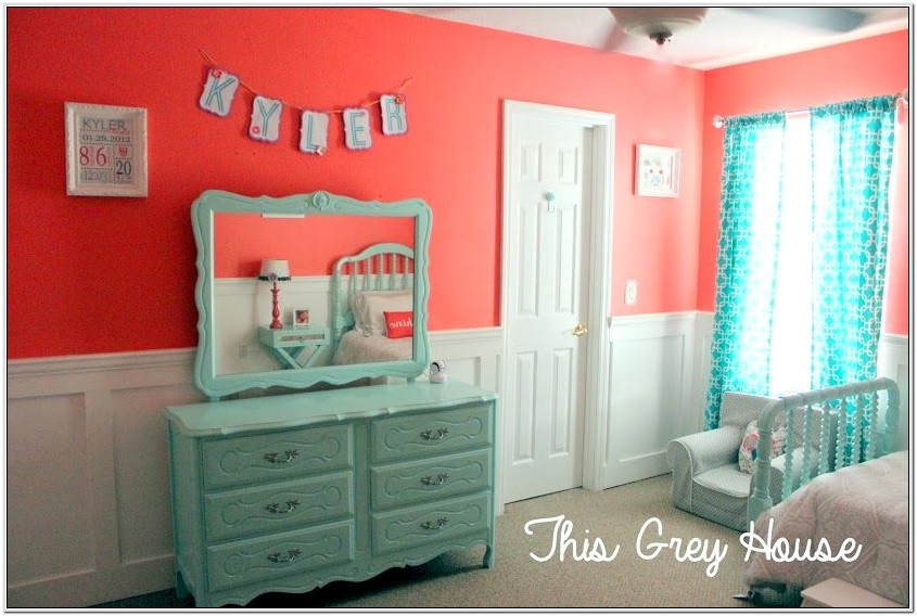 Aqua And Coral Bedroom Decor