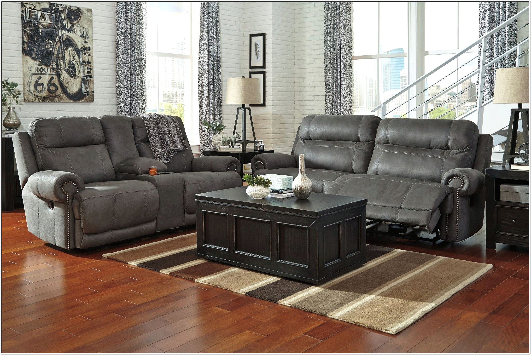 Austere Gray Power Reclining Living Room Set