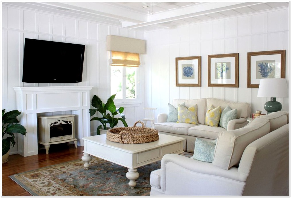 Beach Cottage Style Living Room Interior Design