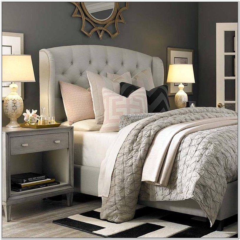 Bedroom Decor With Wooden Bed Grey Walls
