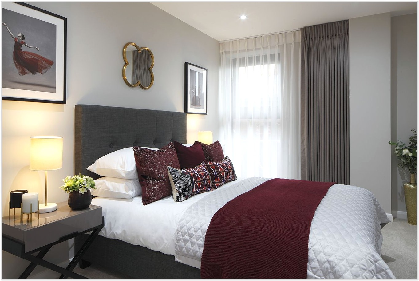Bedroom Decorated With Burgundy