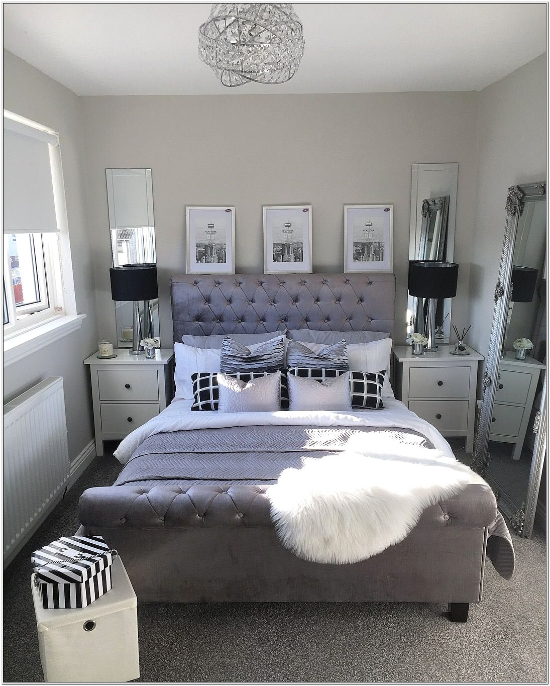 Bedroom Decorating With Mirror Above Bed