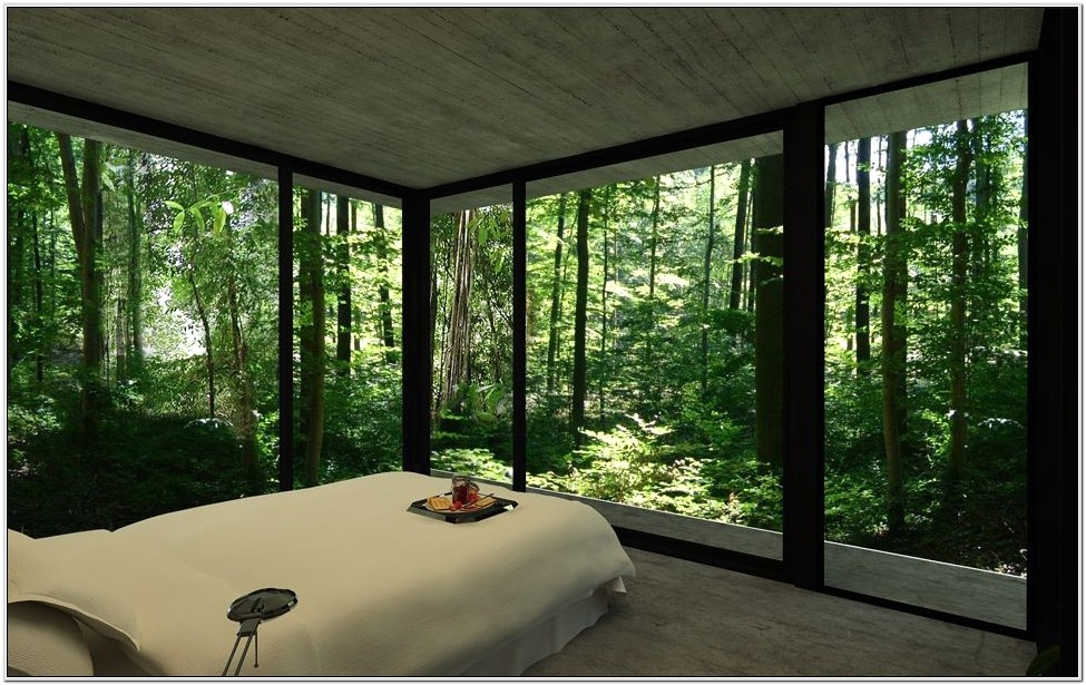 Bedroom Decorating With Wall To Ceiling Windows