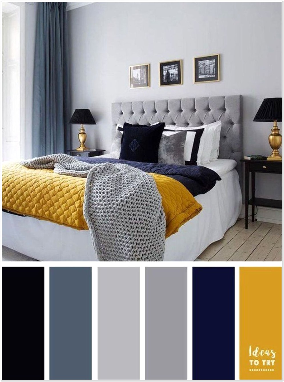 Bedroom Mixing Blue And Gray Decor