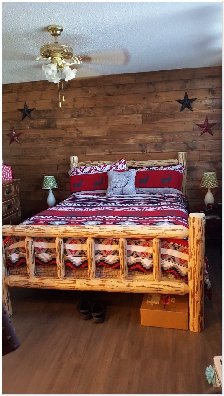 Bedroom Wall Decor And Log Bed