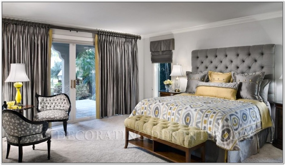 Bedroom With Gray Walls And Gold Decor