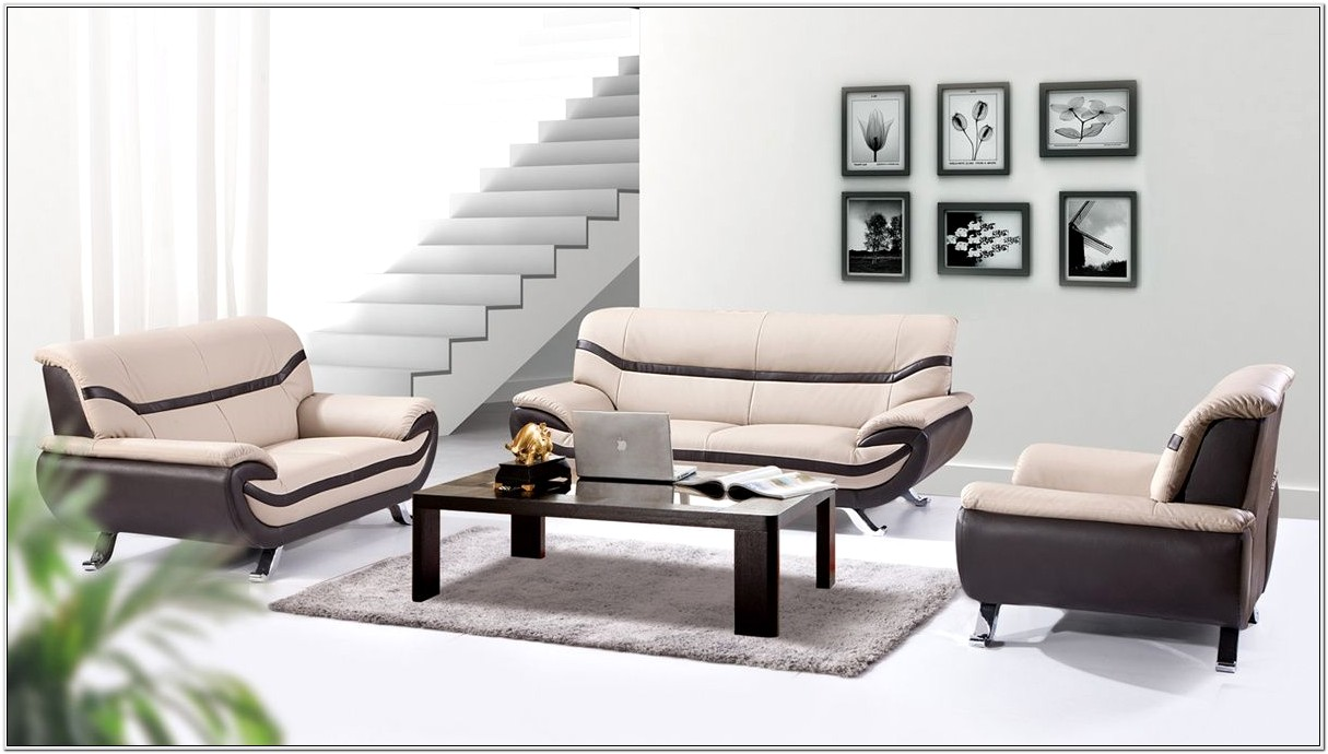 Beige Faux Leather Living Room Sets