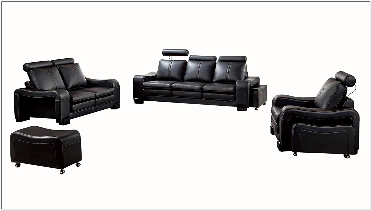 Black Leather Living Room Six Piece Set