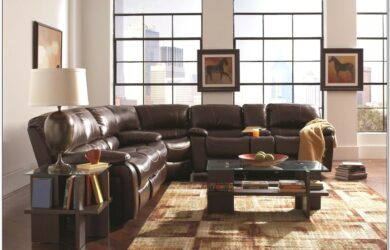 Brown Leather Sectional Living Room Set