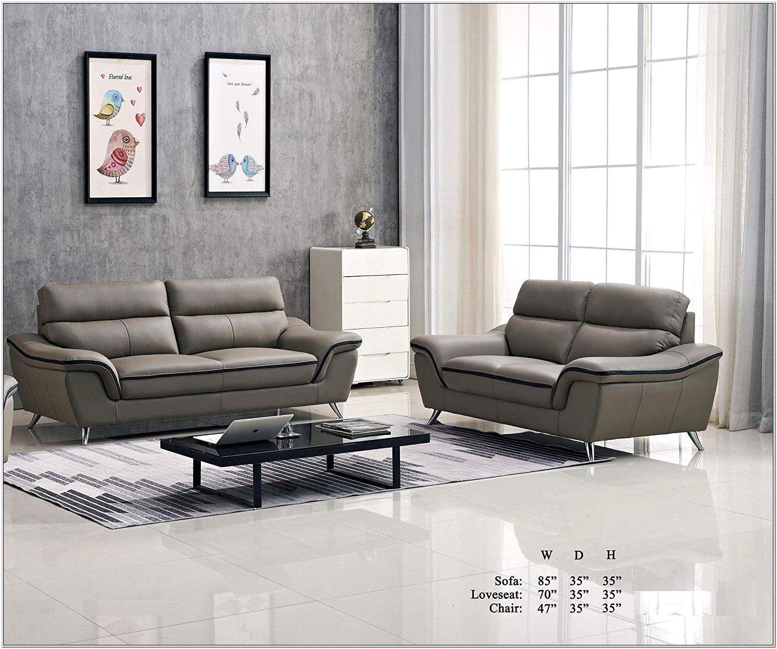 Contemporary Living Room Set Gray