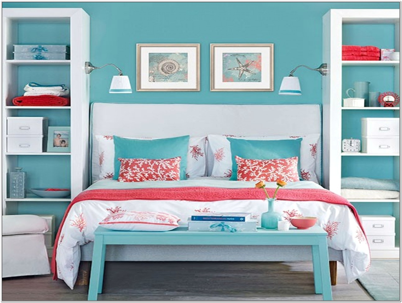 Coral And Blue Bedroom Decor