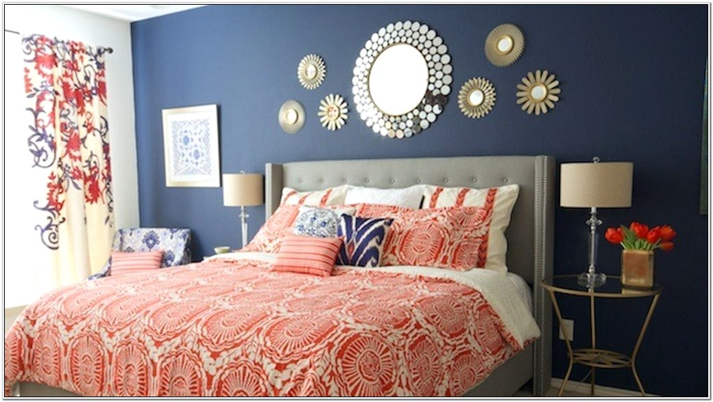 Coral And Navy Bedroom Decor