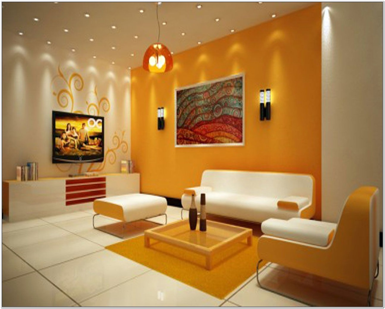 Cute Small Yellow Living Room