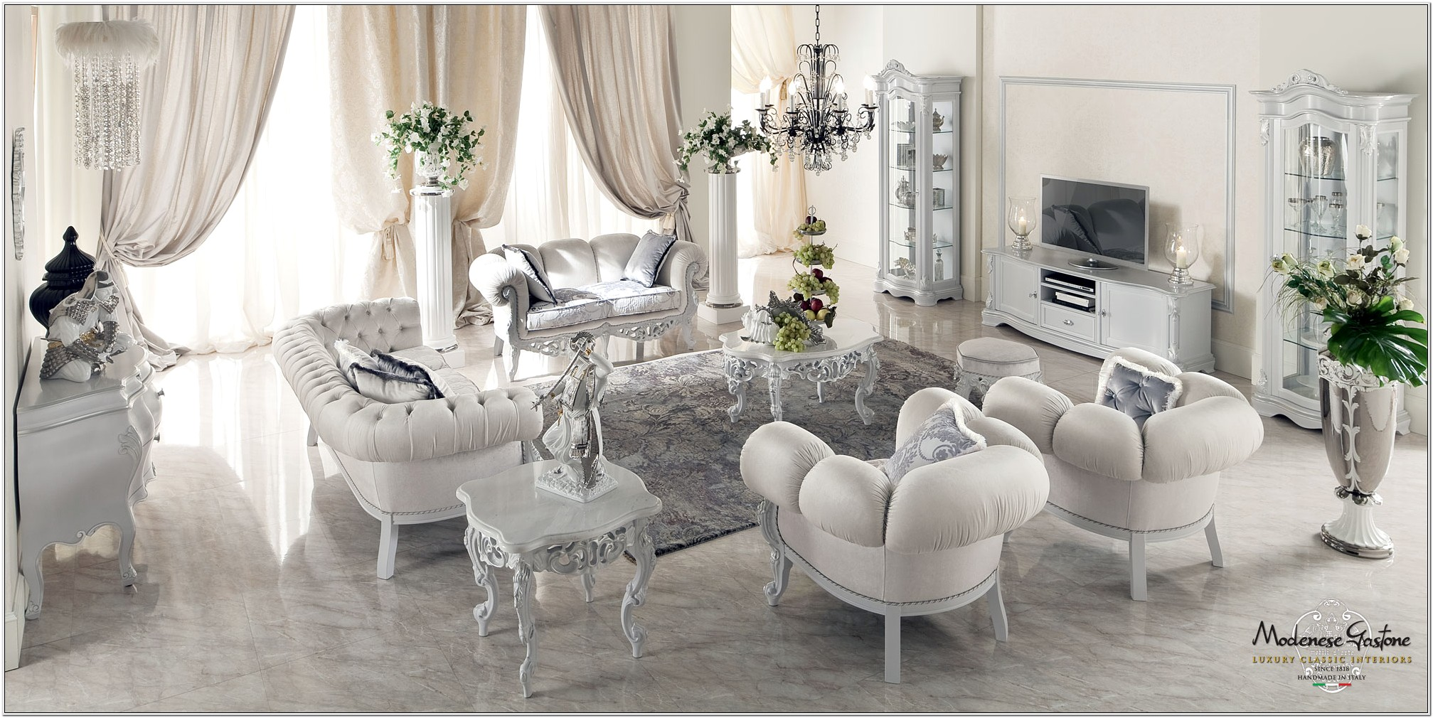 Decorate Ideas Living Room White Ovory Sofas