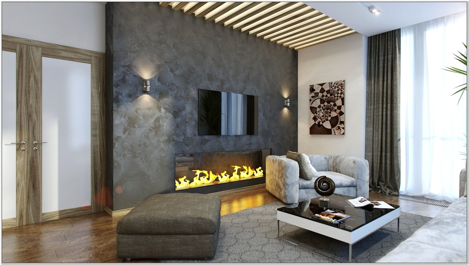Decorate Living Room Wall Stone