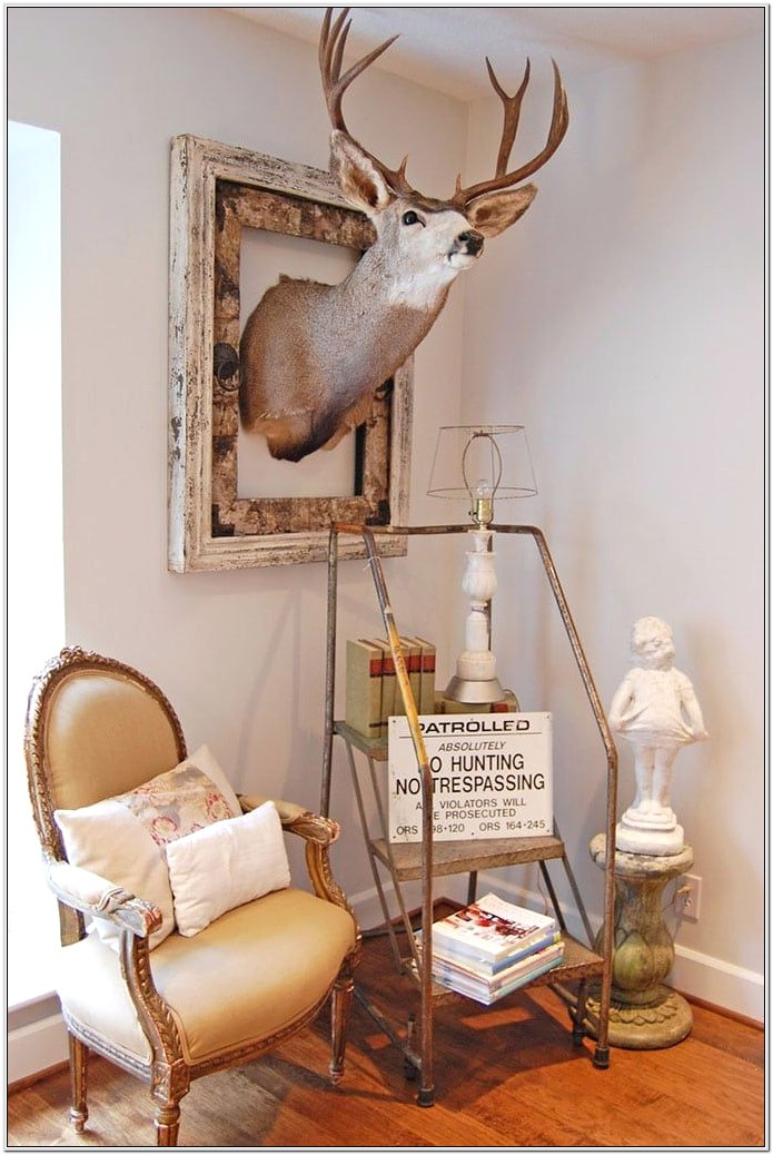 Decorating With Deer Heads On Wall Bedroom