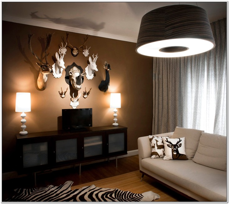 Decorative White Deer Head In Living Room