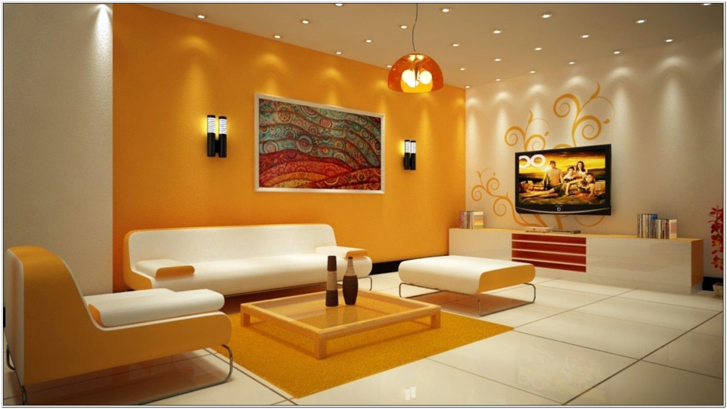Examples Of Living Room Decorated In Orange