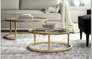Gold Living Room Table Set