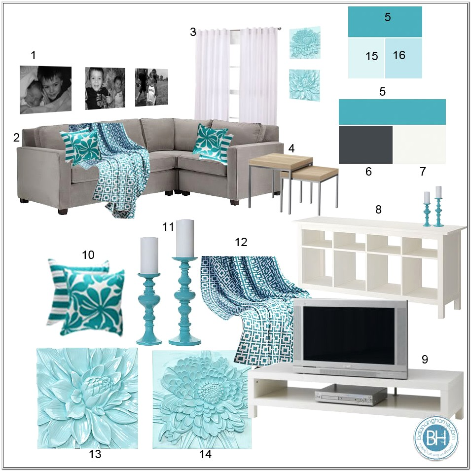 Grey And Dark Teal Living Room Ideas
