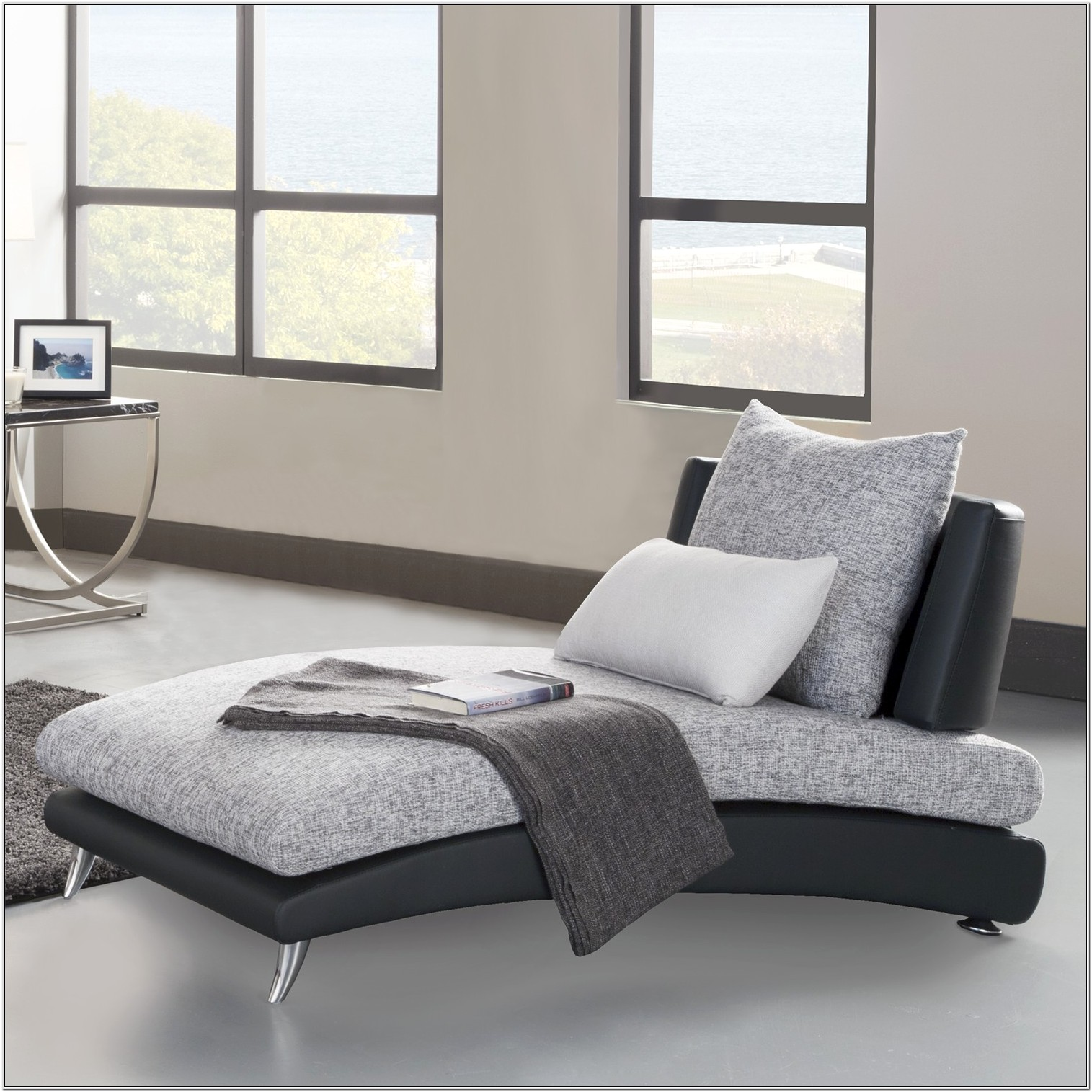 Grey Chaise Lounge Chair Living Room Set