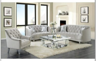 Grey Tufted Living Room Set With Chaise