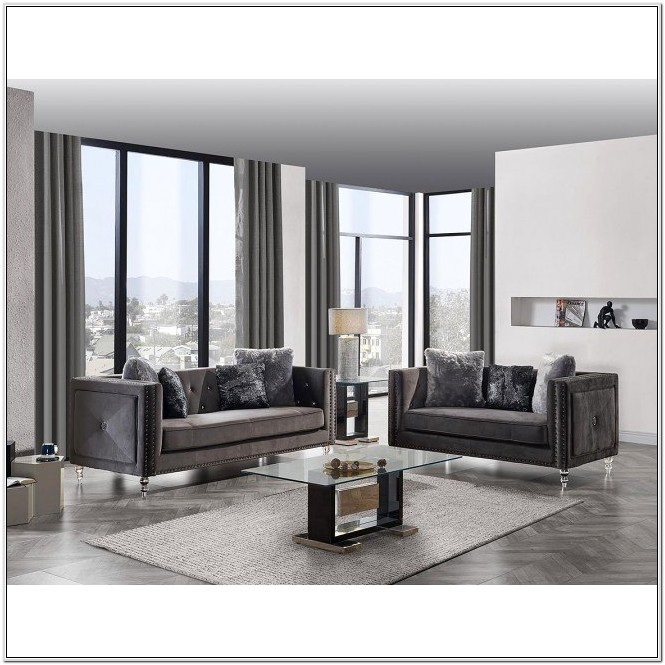Grey Velvet Living Room Set