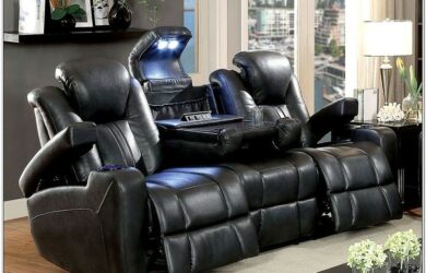High End Power Leather Living Room Sets