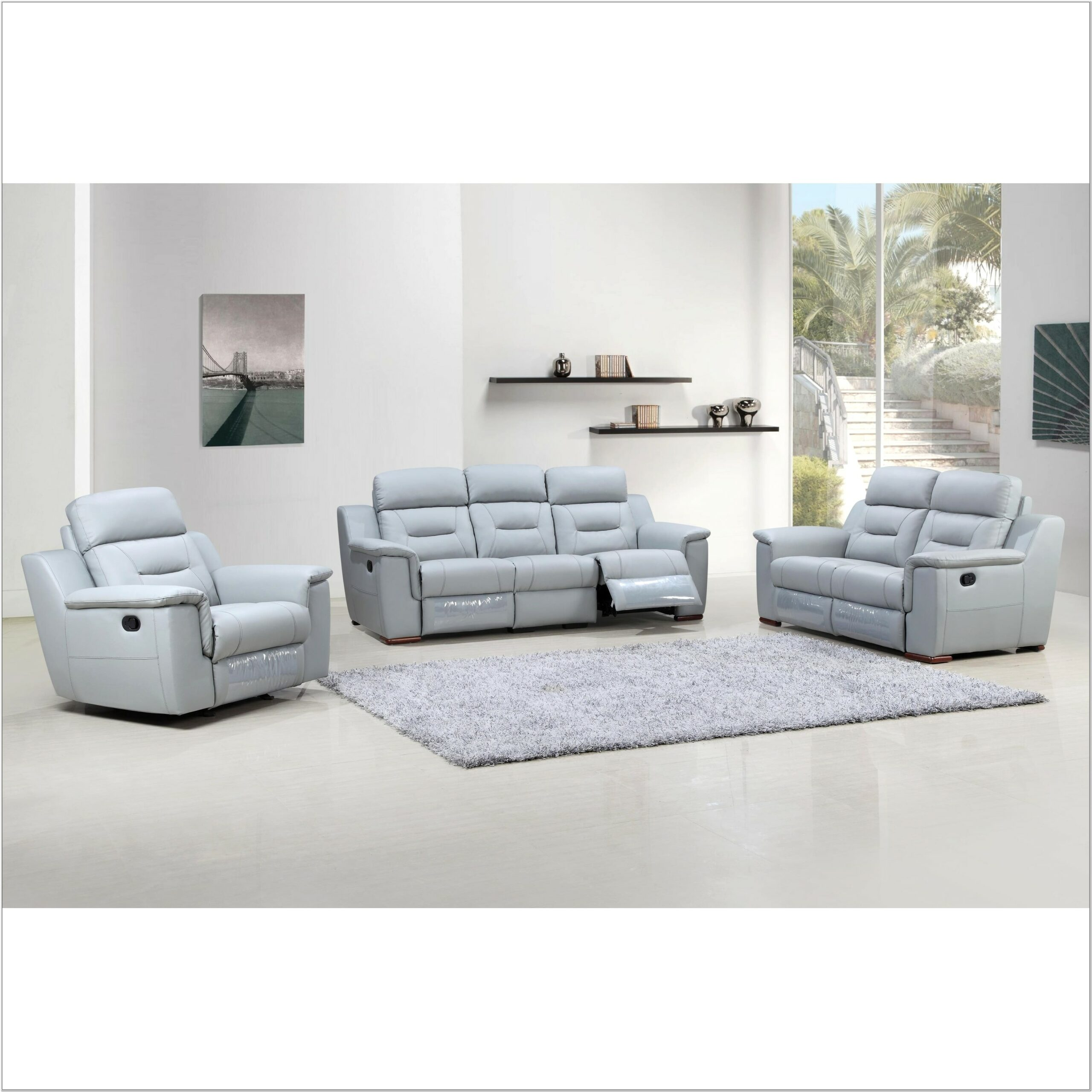 Leather 3 Piece Living Room Sofa Set