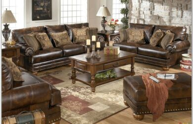 Leather Brown Living Room Set