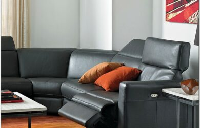 Leather Power Reclining Living Room Furniture Sets