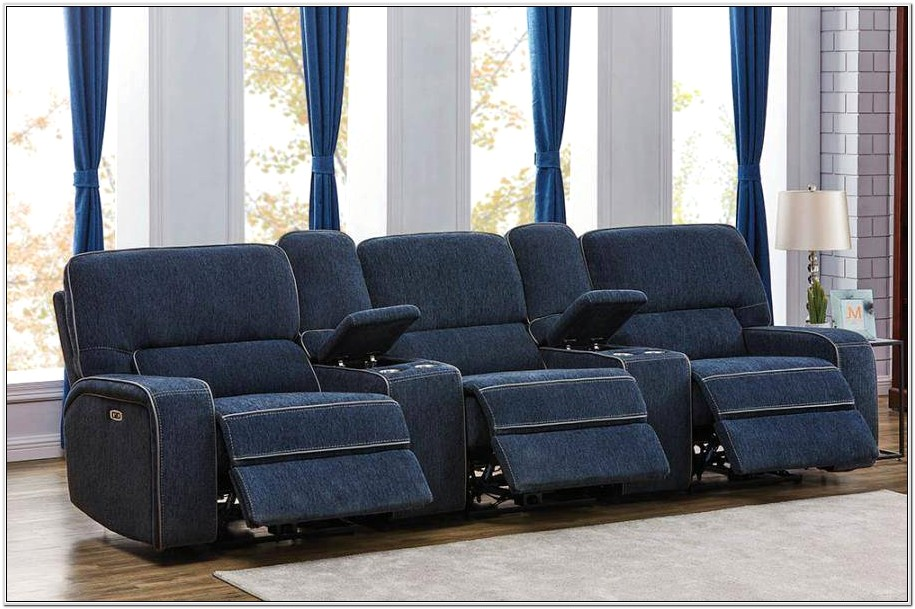 Light Blue Reclining Living Room Sets