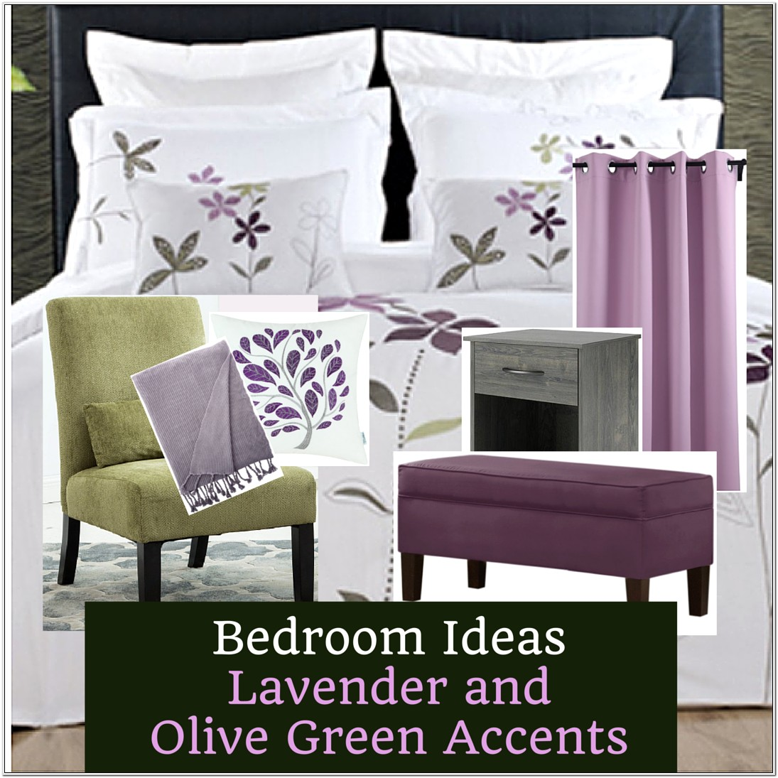 Lilac Green Decor For Bedroom