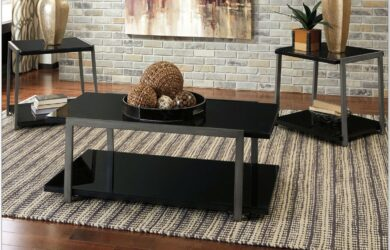 Living Room Black Table Sets