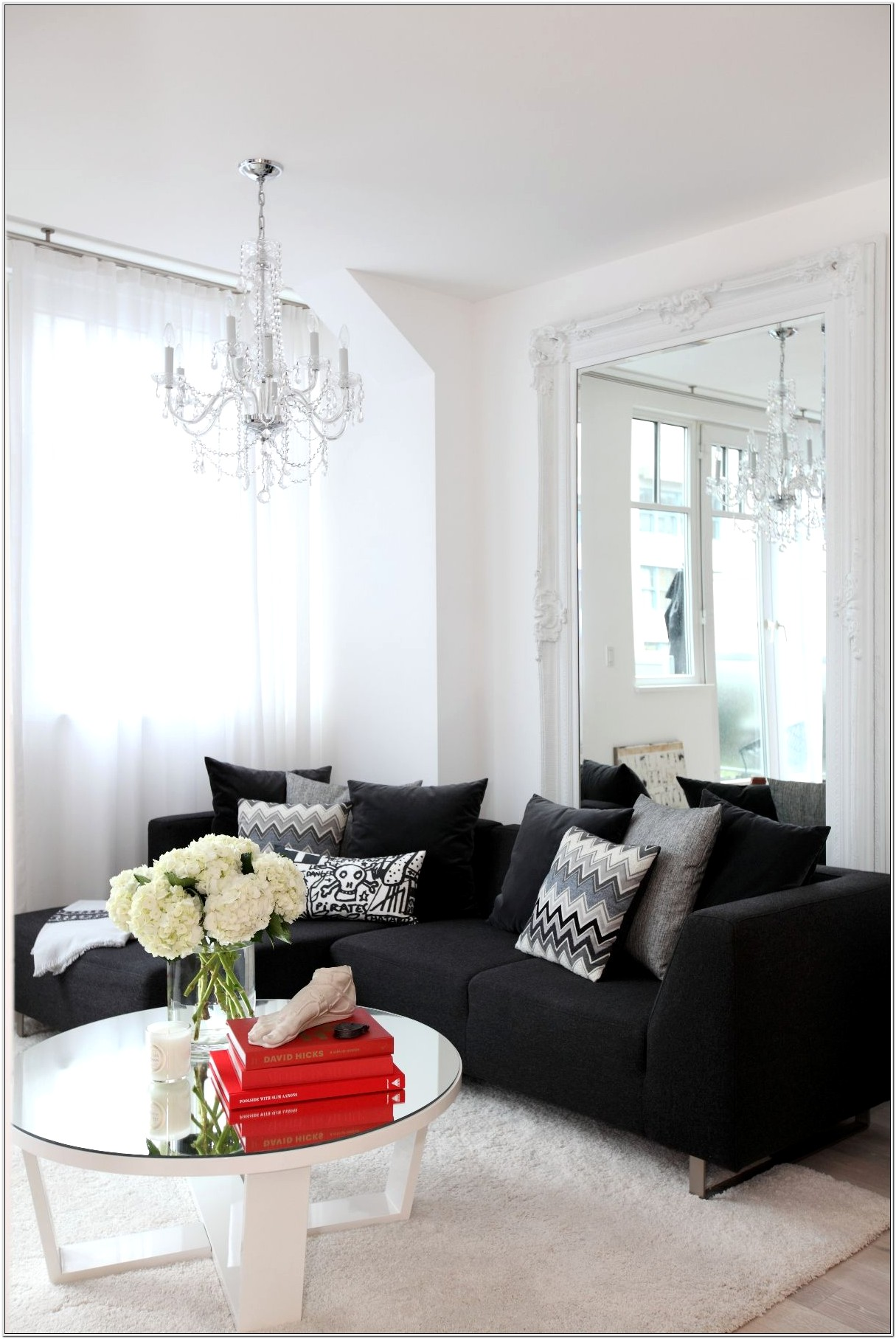 Living Room Design Black Couch