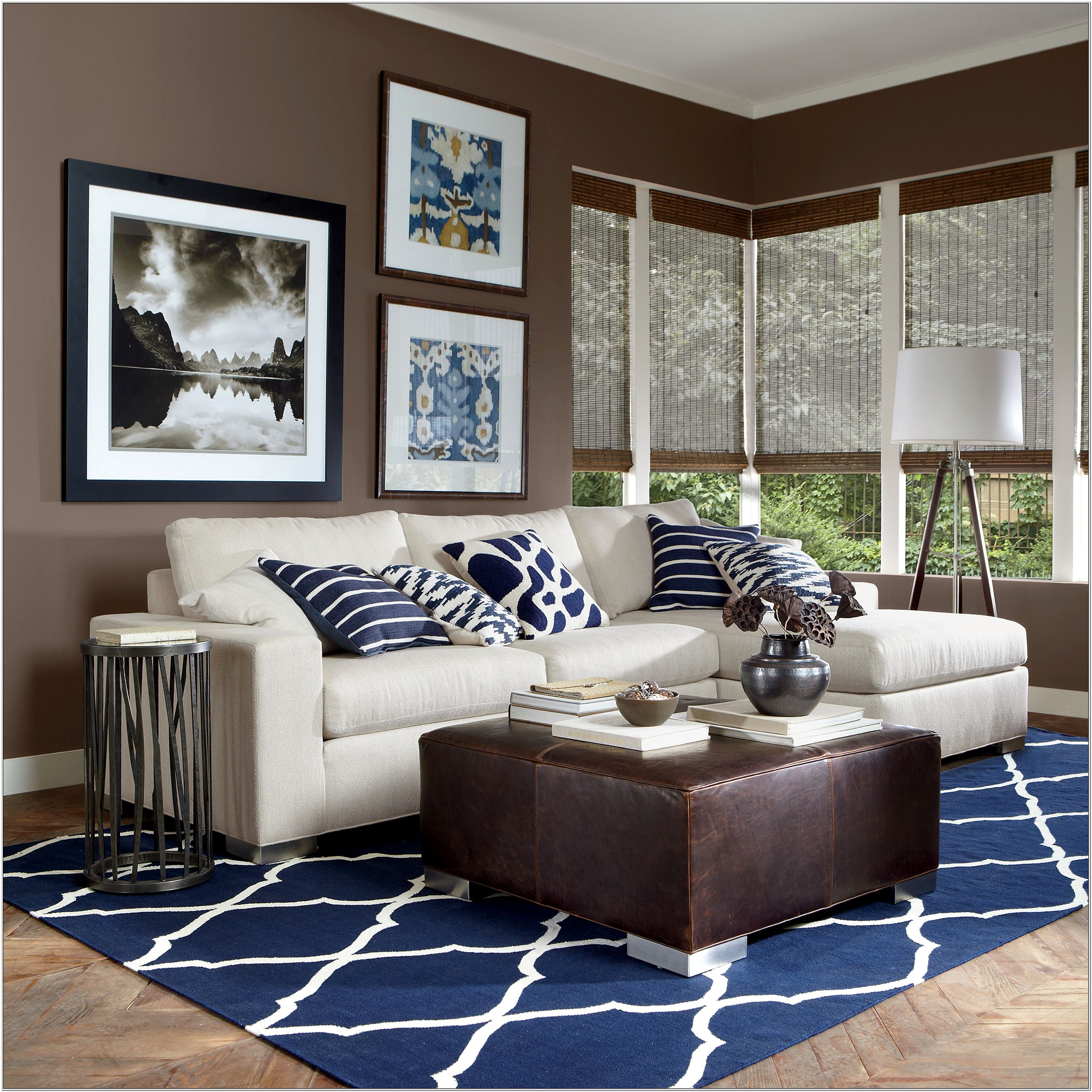 Living Room Design Brown And Blue