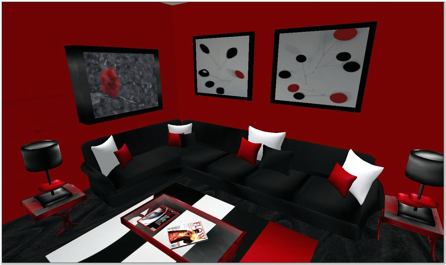 Living Room Design Red And White