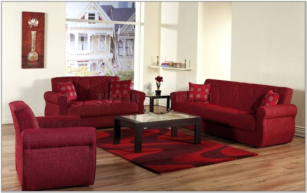 Living Room Design Red Couch