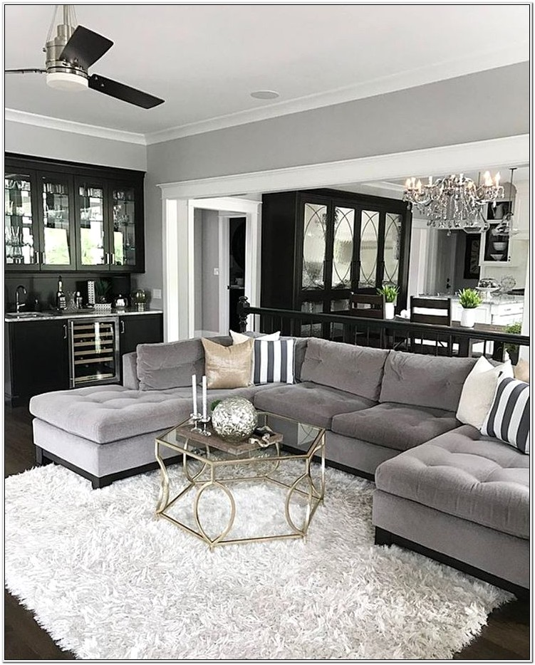 Living Room Design With Brown Sectional