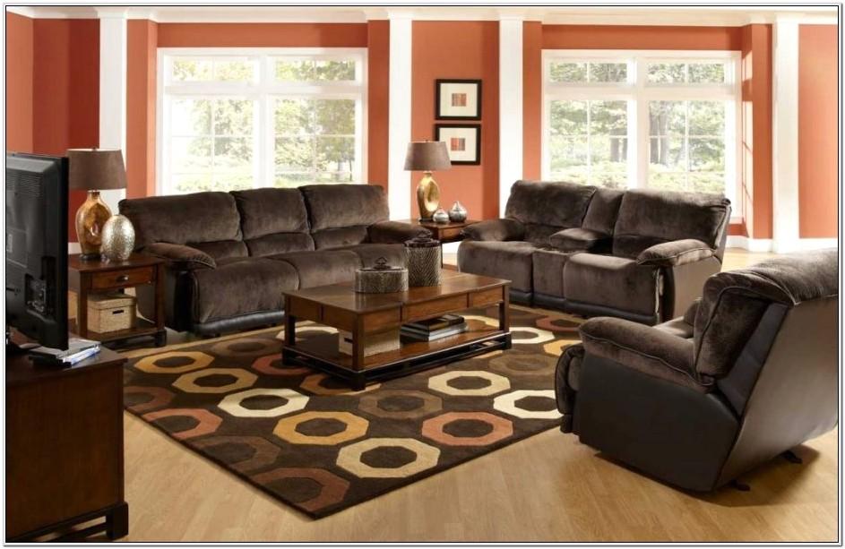Living Room Design With Dark Brown Sofa