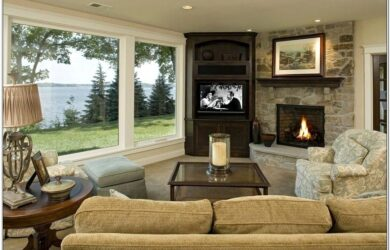 Living Room Design With Fireplace In Corner