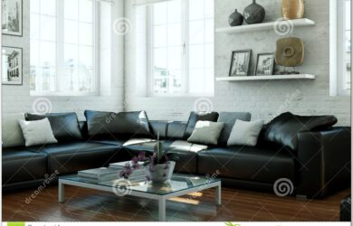 Living Room Design With Leather Couch