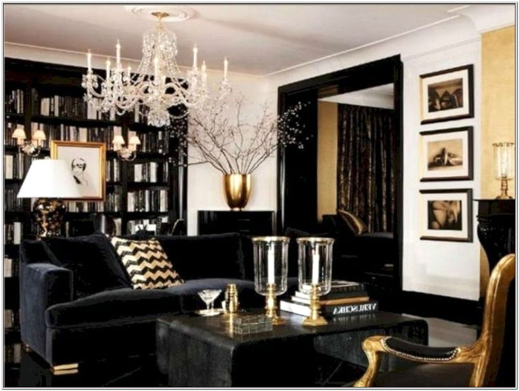Living Room Ideas In Gold And Black