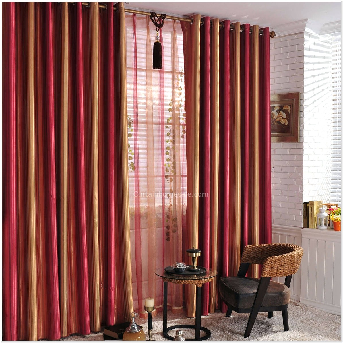 Living Room Ideas Red Curtains