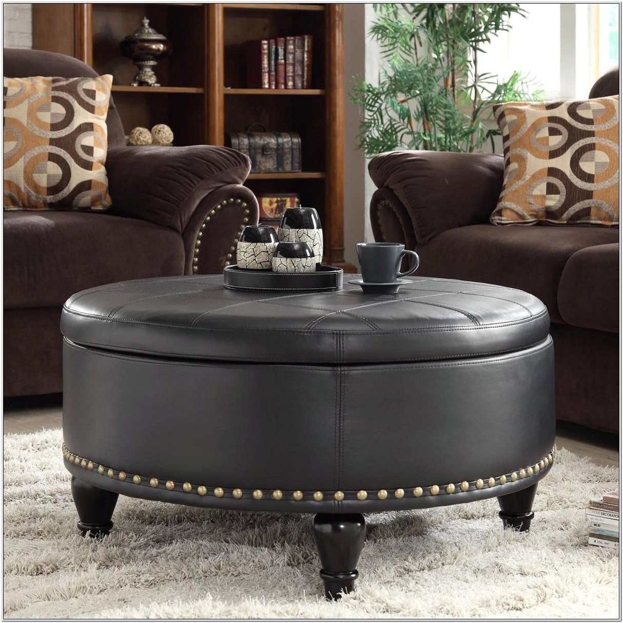 Living Room Leather Ottoman Ideas
