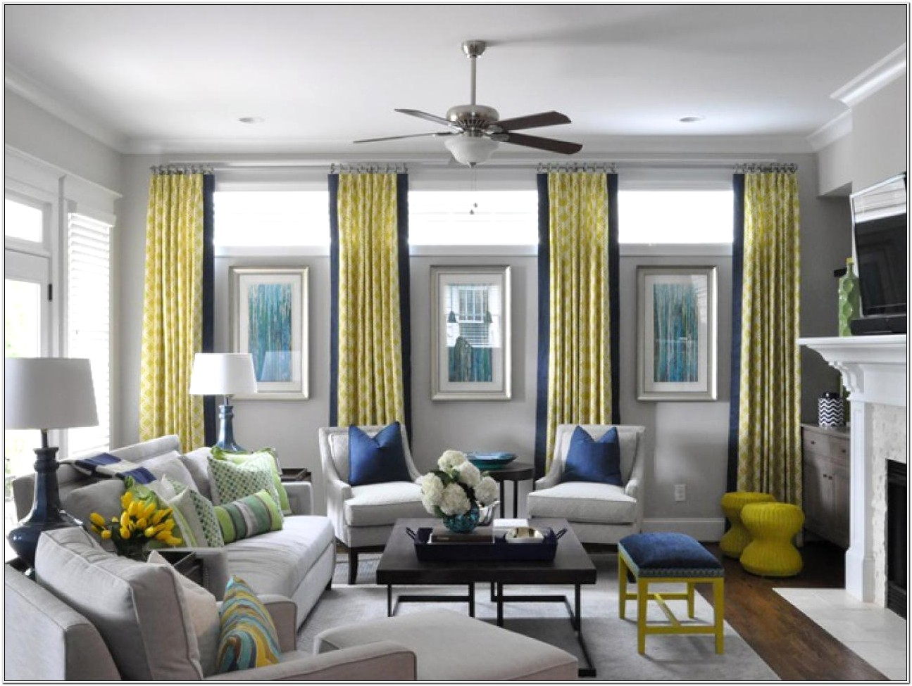 Living Room Modern Decor Yellow And Grey