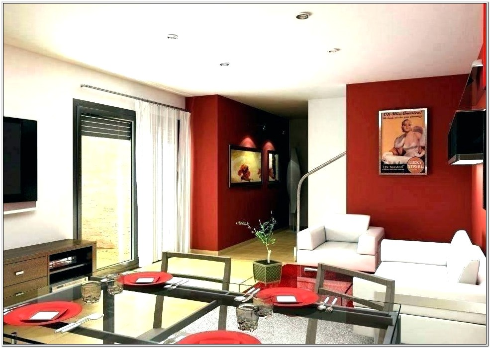 Living Room Red Feature Wall Ideas
