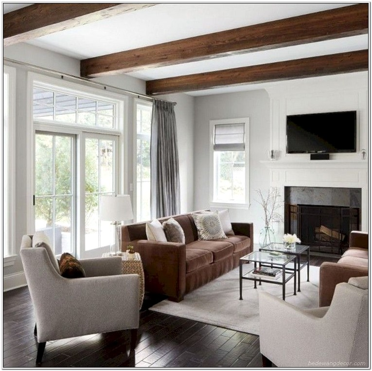 Living Room With Beams Paint Ideas