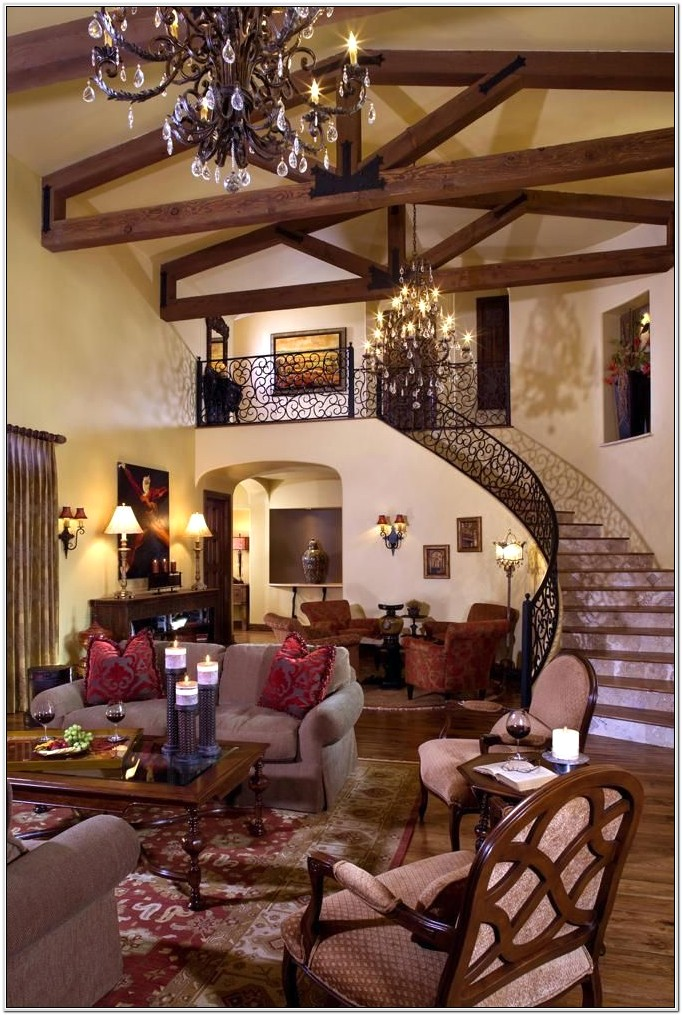 Modern Tuscan Mediterranean Themed Living Room Ideas